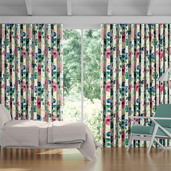 Wave Fiori Linen Summer Berry Curtains
