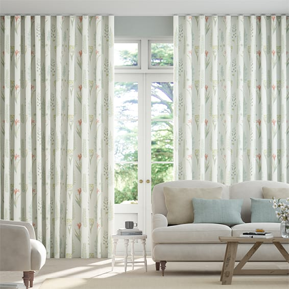 Wave Floral Bazaar Aqua Curtains