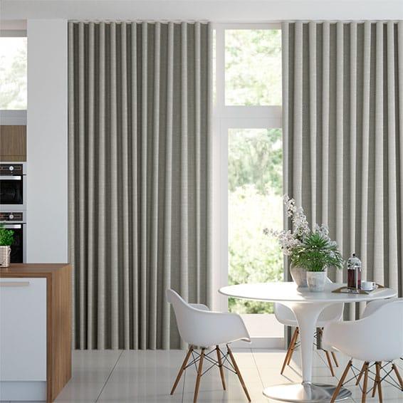 Wave Ahisma Luxe Faux Silk Chrome Curtains