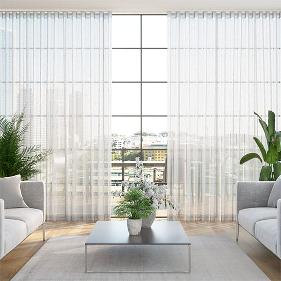 Wave Madagascar Voile Neutral Curtains
