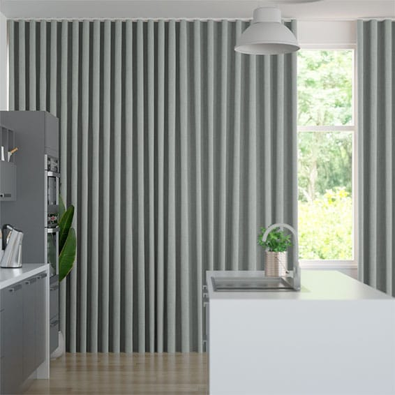 Wave Paleo Linen Elephant Grey Curtains