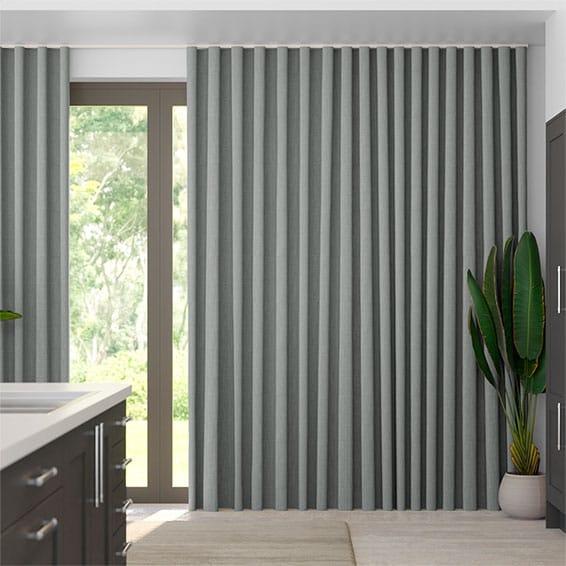 Wave Paleo Linen Steel Curtains