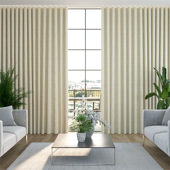 Wave Paleo Linen Vintage Cream Curtains