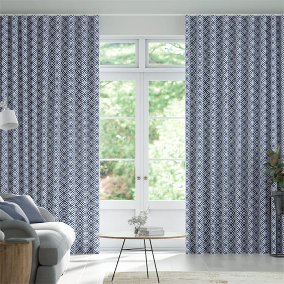 Wave Fretwork Indigo Curtains