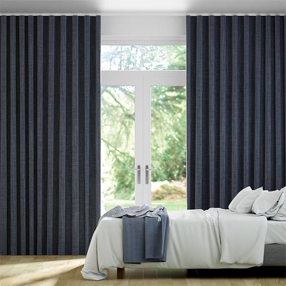 Wave Harrow Navy Curtains