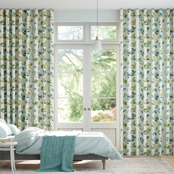 Wave Juniper Limeade Curtains