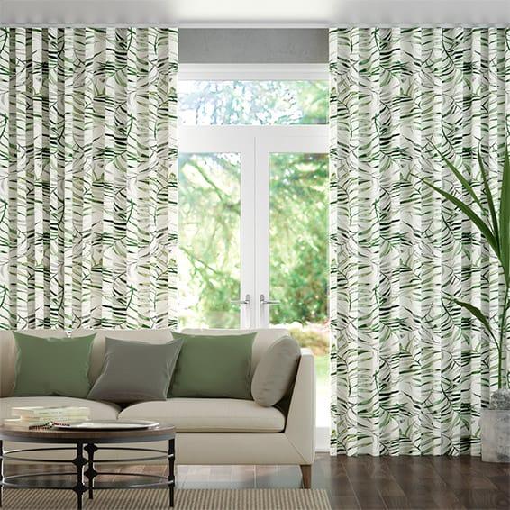 Wave Kentia Linen Leaf Curtains