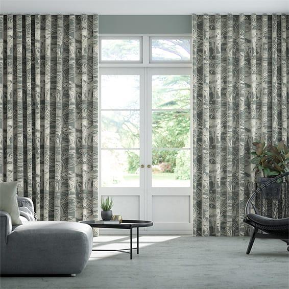 Wave Kinabalu Charcoal Curtains