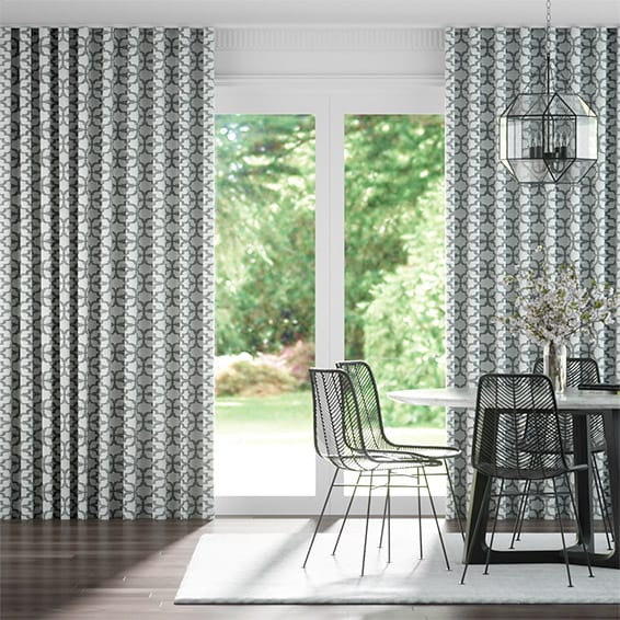 Wave Lattice Silver Curtains