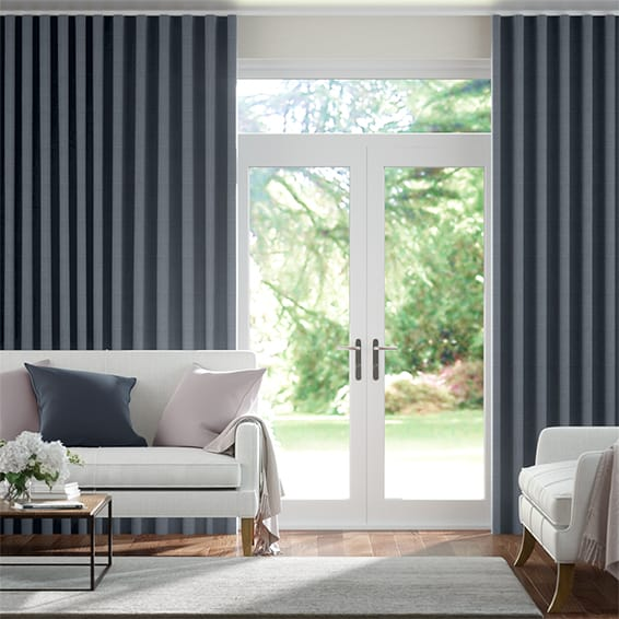 Wave Leyton Deep Navy Curtains
