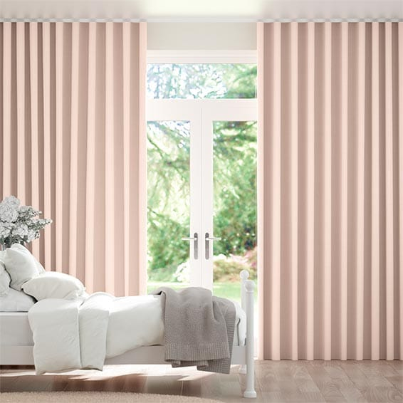 Wave Leyton Pale Pink Curtains