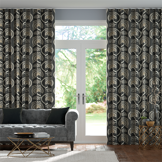 Wave Louella Charcoal Curtains
