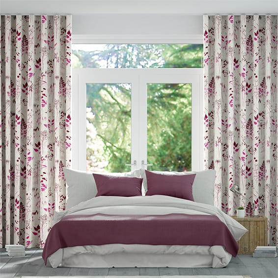 Wave Meadow Fuchsia Curtains