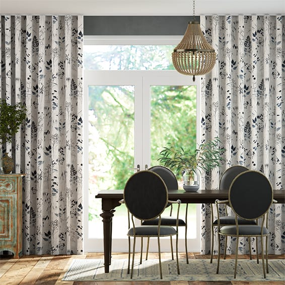 Wave Meadow Midnight Curtains