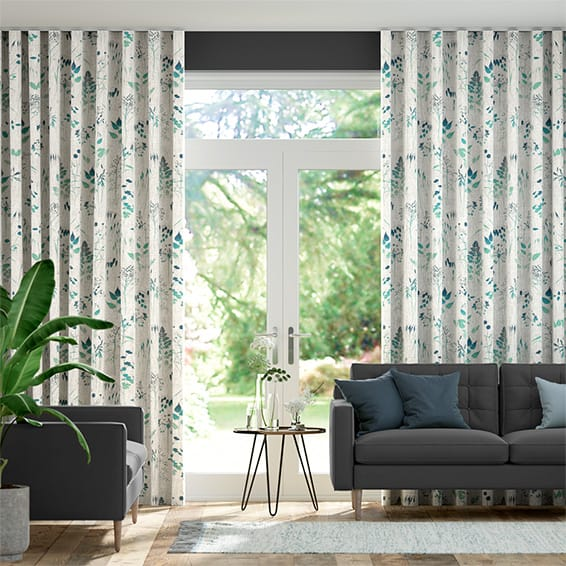 Wave Meadow Teal Curtains