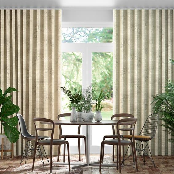 Wave Moonlit Fern Faux Silk Golden Summer Curtains