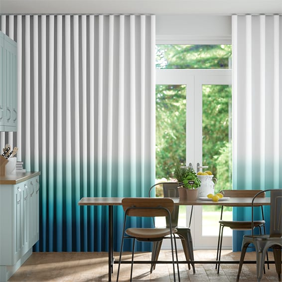 Wave Ombre Teal Curtains