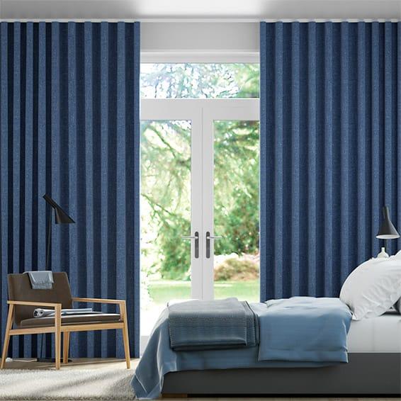 Wave Paleo Linen Blue Azure  Curtains