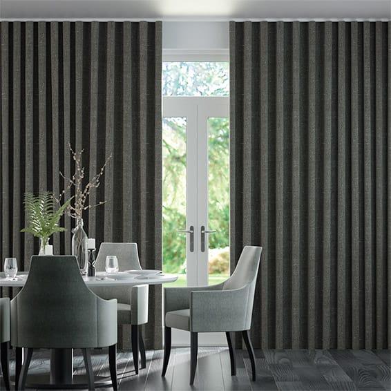 Wave Paleo Linen Graphite  Curtains