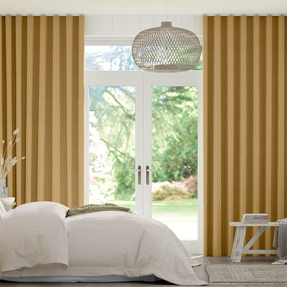 Wave Paleo Linen Mustard  Curtains