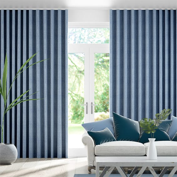 Wave Paleo Linen Persian Blue  Curtains