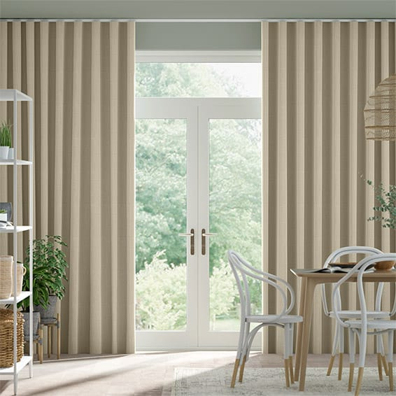 Wave Paleo Linen Sandstone  Curtains