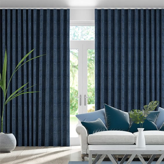Wave Paleo Linen Vintage Indigo  Curtains