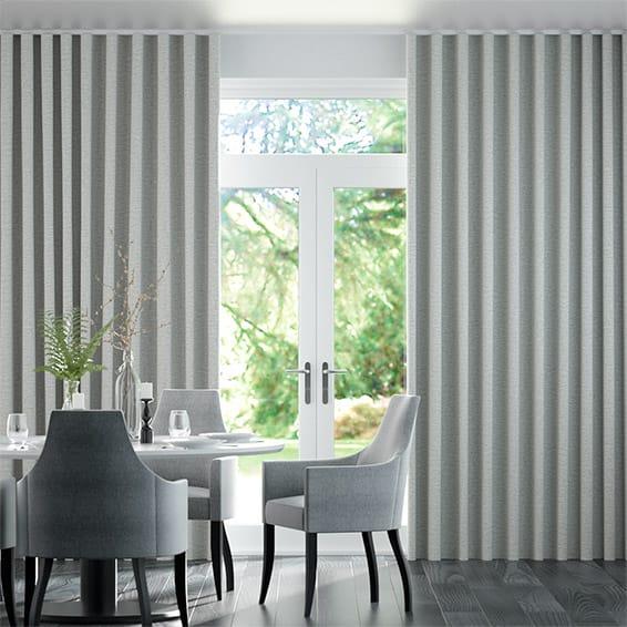 Wave Plush Chenille Soft Grey Curtains