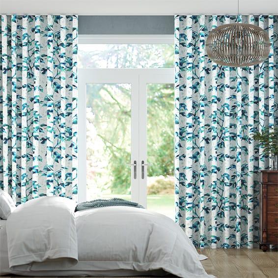 Wave Rainforest Teal Curtains