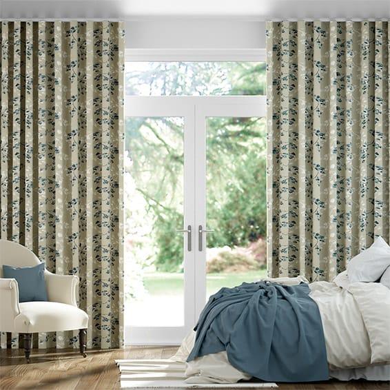 Wave Renaissance Linen Charcoal Curtains