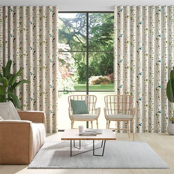 Wave Secret Garden Linen Bluegrass Curtains