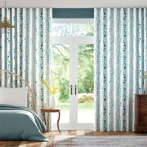 Wave String of Hearts Teal Curtains