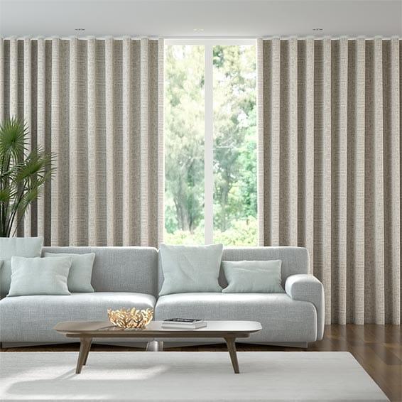 Wave Thalia White Gold Curtains