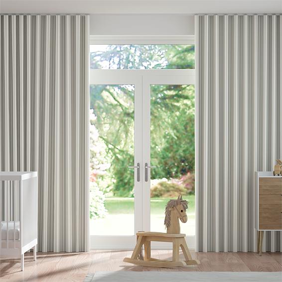 Wave Tiger Stripe Dove Grey Curtains