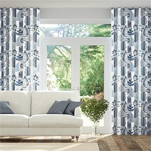 Wave Tropical Leaves Midnight Wave Curtains thumbnail image
