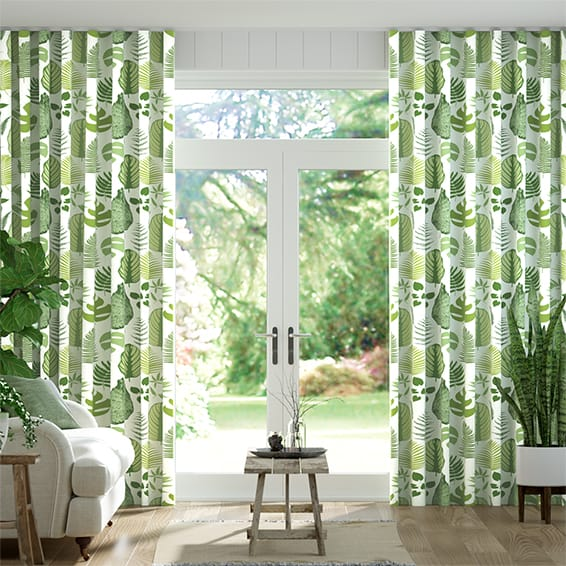 Wave Tropical Leaves Moss Curtains