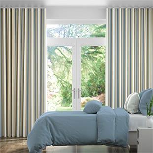 Wave Truro Stripe Coastal Blue Wave Curtains thumbnail image