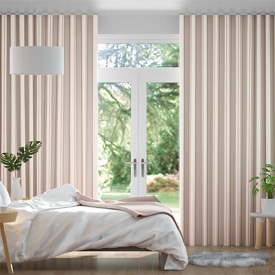 Wave Twill Stripe Blush Curtains