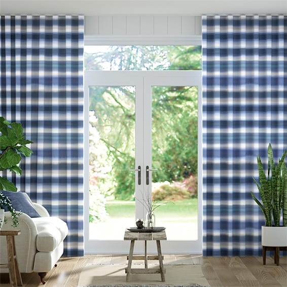 Wave Watercolour Stripe Blue Curtains