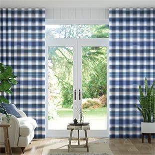 Wave Watercolour Stripe Blue Wave Curtains thumbnail image