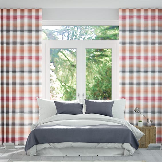 Wave Watercolour Stripe Blush Curtains