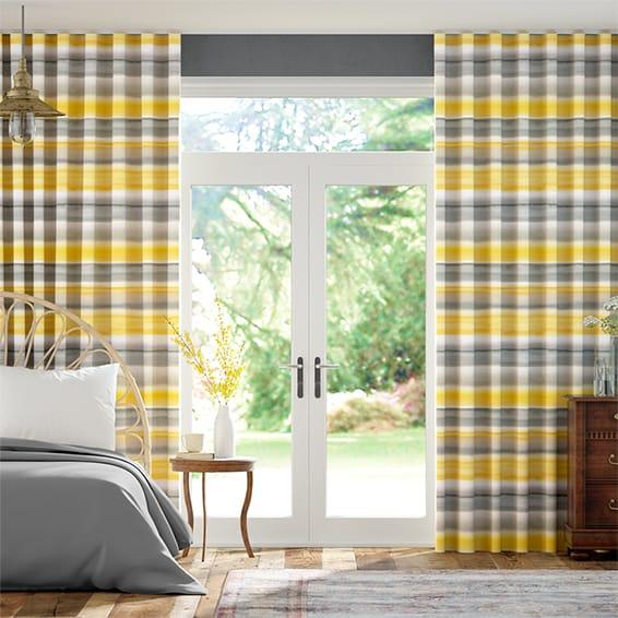 Wave Watercolour Stripe Ochre Curtains