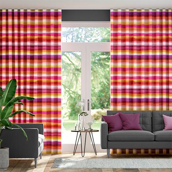 Wave Watercolour Stripe Sunset Curtains