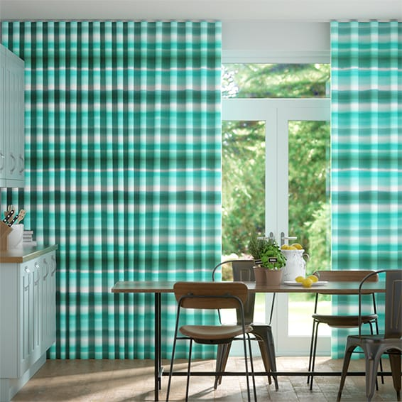 Wave Watercolour Stripe Teal Curtains