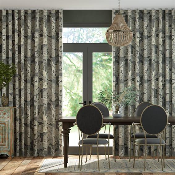 Wave William Morris Acanthus Velvet Mineral Curtains
