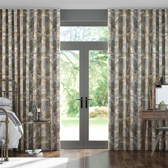 Wave William Morris Acanthus Velvet Travertine Curtains