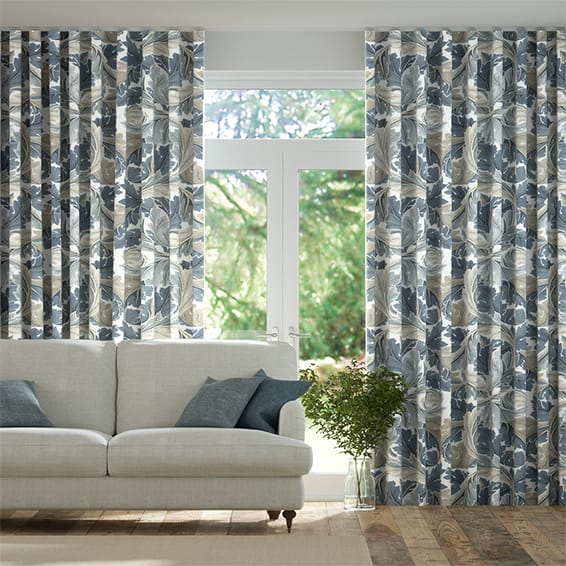 Wave William Morris Acanthus Vintage Blue Curtains