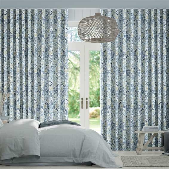 Wave William Morris Compton China Blue Curtains