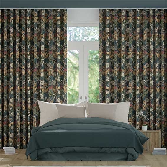 Wave William Morris Compton Velvet Dusky Teal Curtains