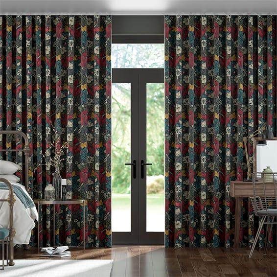 Wave William Morris Compton Velvet Ink Curtains